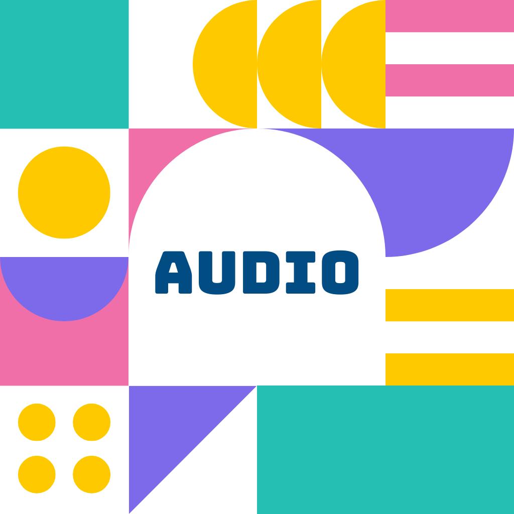 Diverses formes et couleurs avec le mot audio au centre