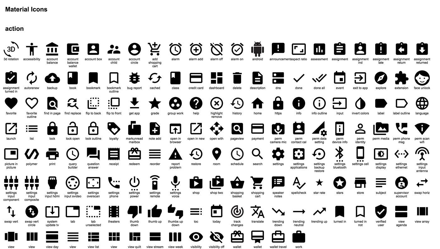Icones Google en noir et blanc