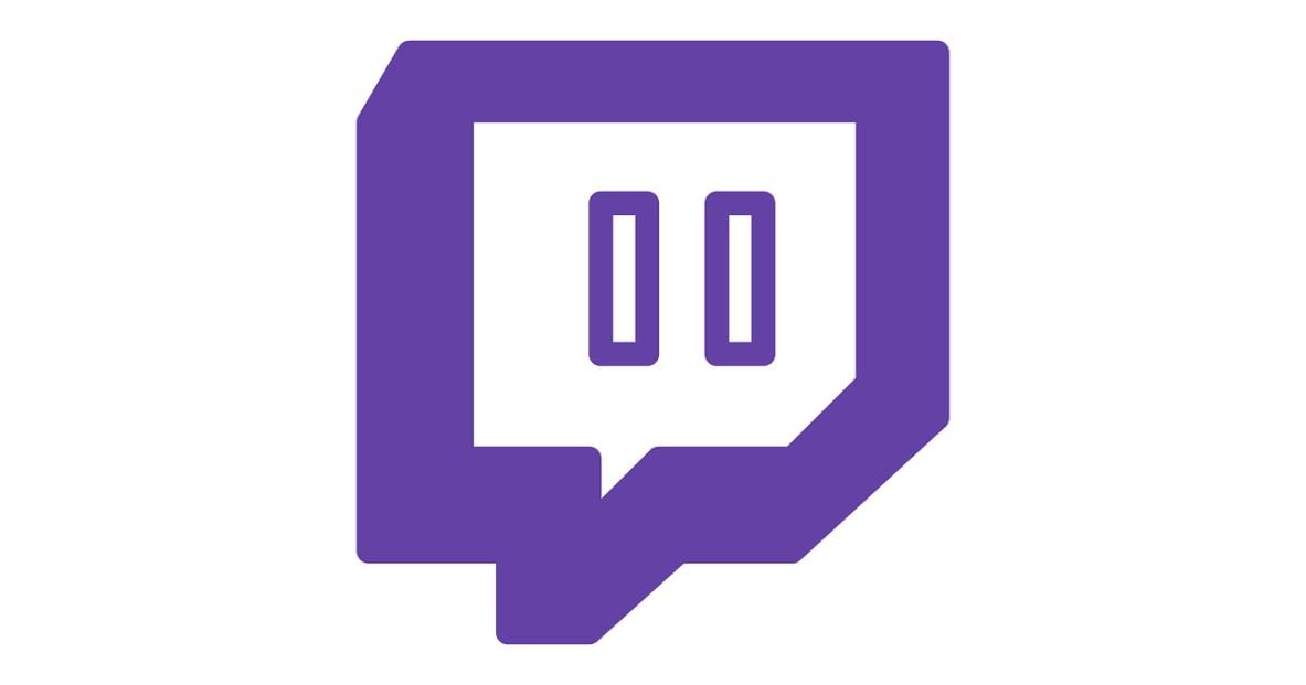 Le logo de la plateforme de streaming Twitch sur fond blanc
