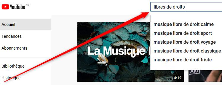 Une recherche sur youtube pour savoir comment télécharger de la musique gratuitement