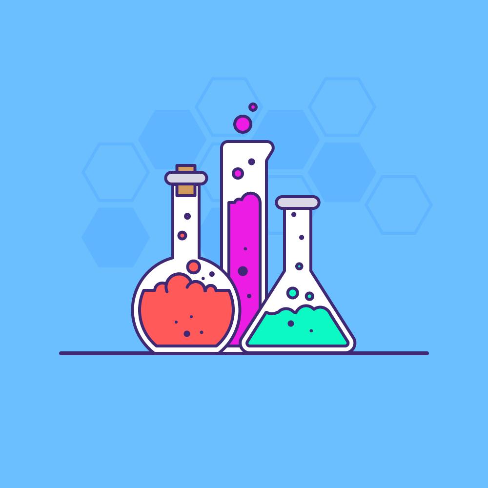 Des fioles, béchers et contenants de laboratoires avec des liquides colorés sur fond bleu ciel