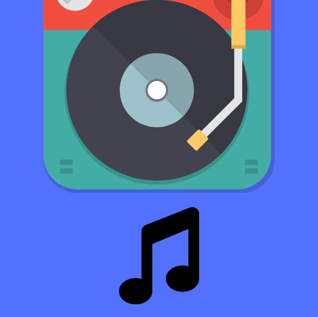 Un lecteur vinyle sur fond bleu avec une note de musique noire