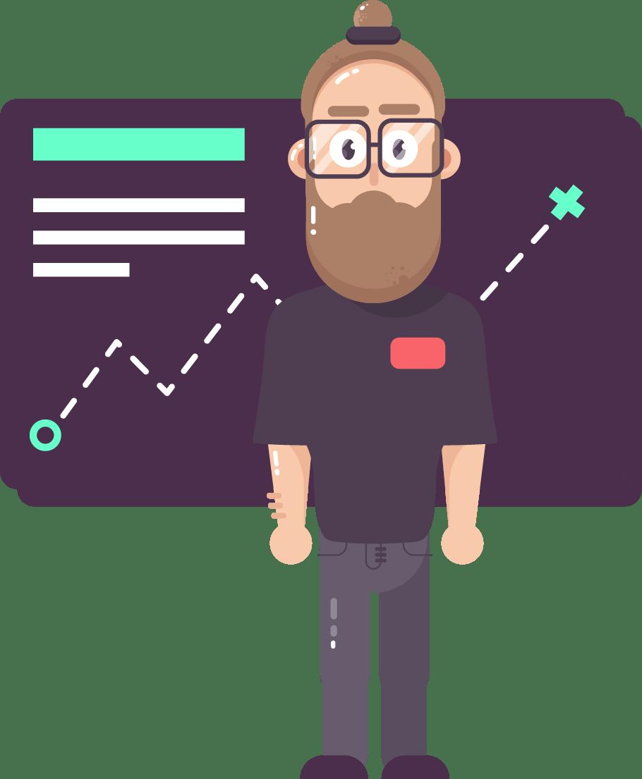 Illustration d'un homme barbu avec lunettes devant un tableau