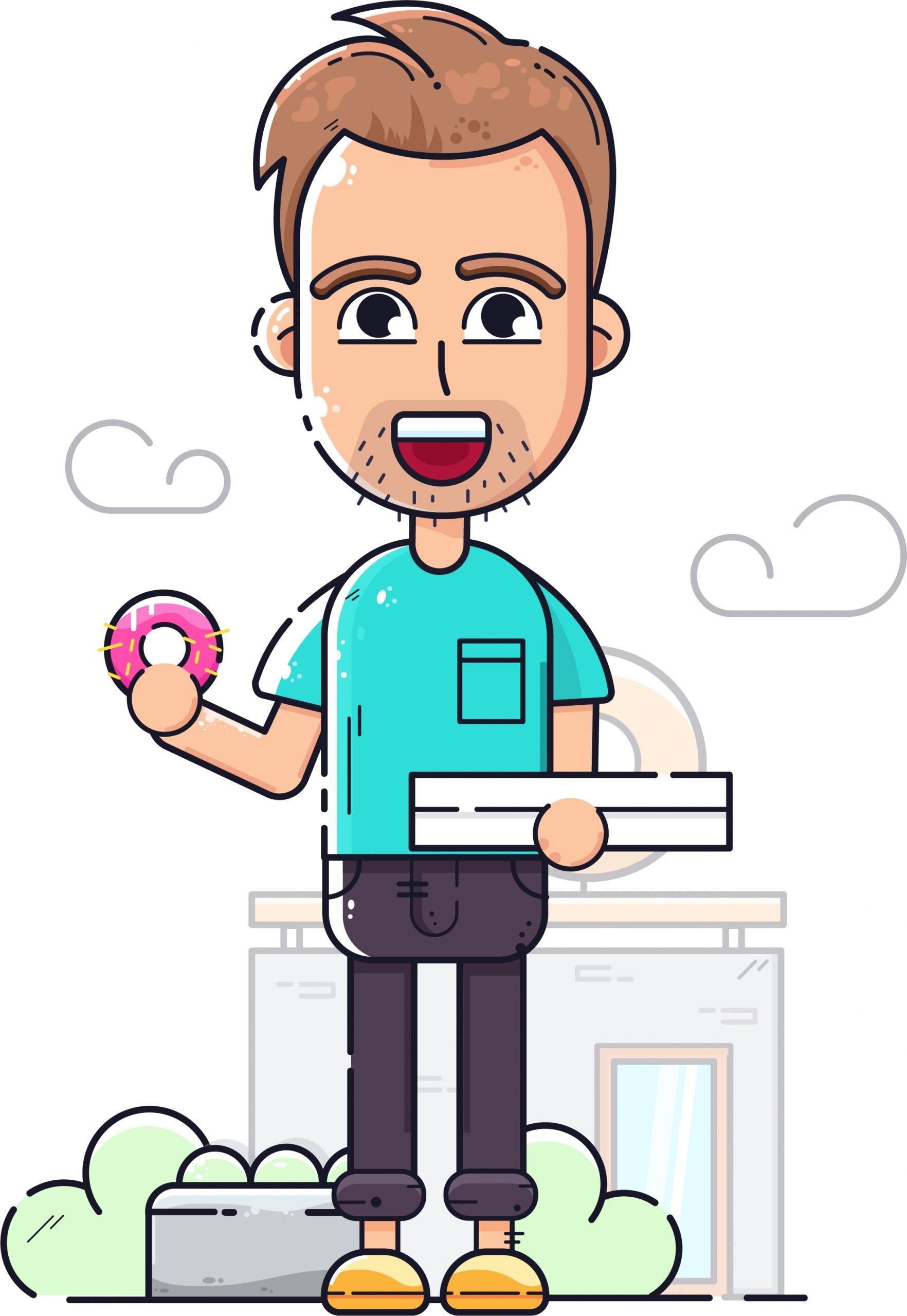 Illustration d'un jeune homme avec un beignet rose dans la main droite et une boite blanche dans la main gauche