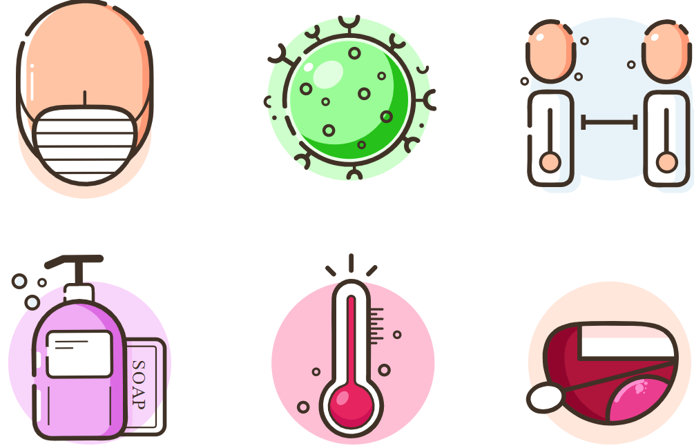Un aperçu d'icônes liés au covid-19 / coronavirus