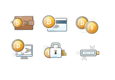 Des icones représentant des bitcoins avec cadenas, carte bancaire, clé usb