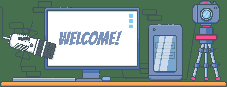Une illustration avec un micro, un écran, un ordinateur et un appareil photo