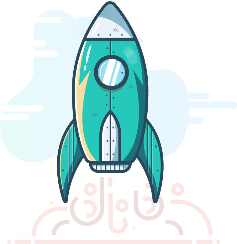 Illustration d'une fusée verte qui décolle