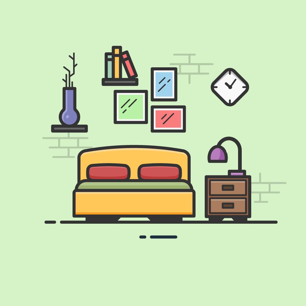 Illustration d'une chambre à coucher avec meuble, cadres, lampe, livres et un vase sur fond vert