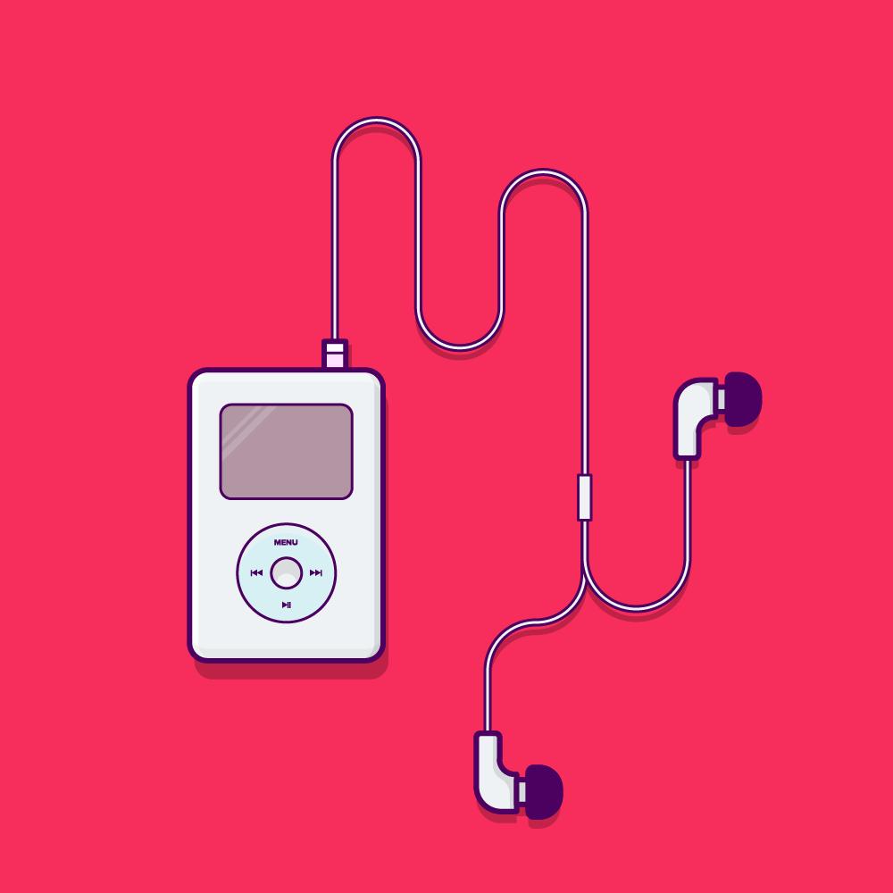 Illustration de la première génération d'Apple Ipod avec écouteurs sur fond rouge