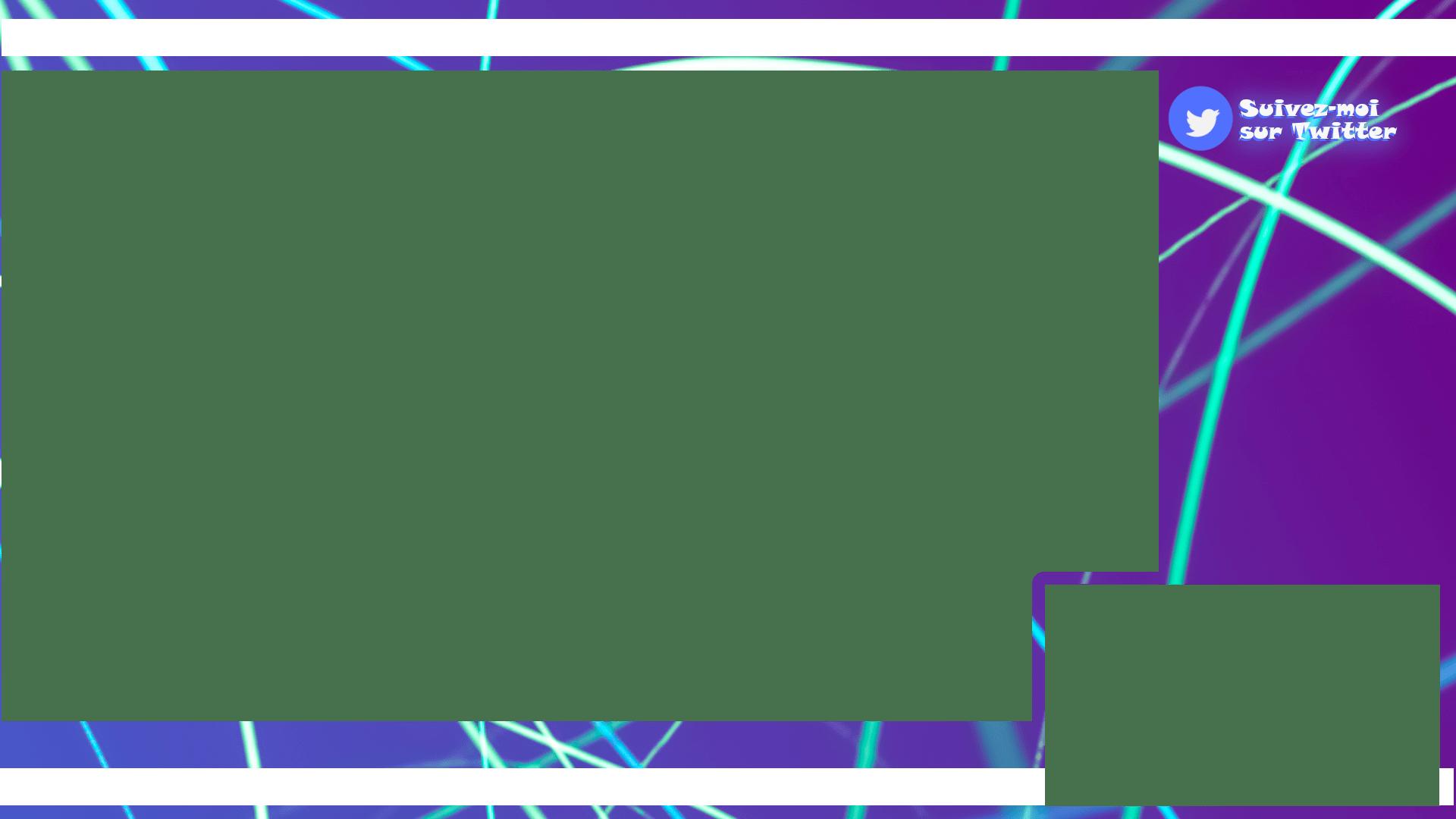 Un overlay pour Twitch avec des rayons de lumière bleue ciel sur un fond violet