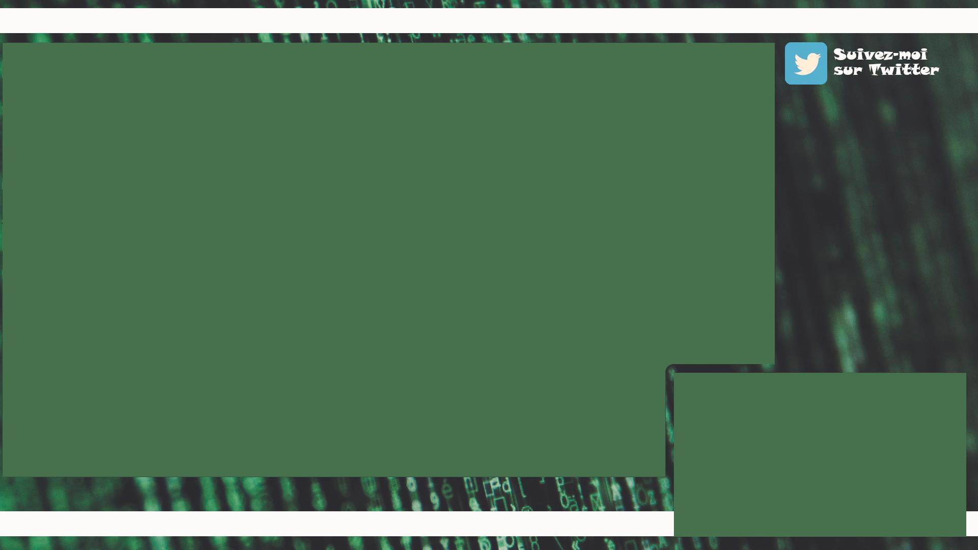 Un overlay pour twitch avec motif matrice en vert avec un logo Twitter