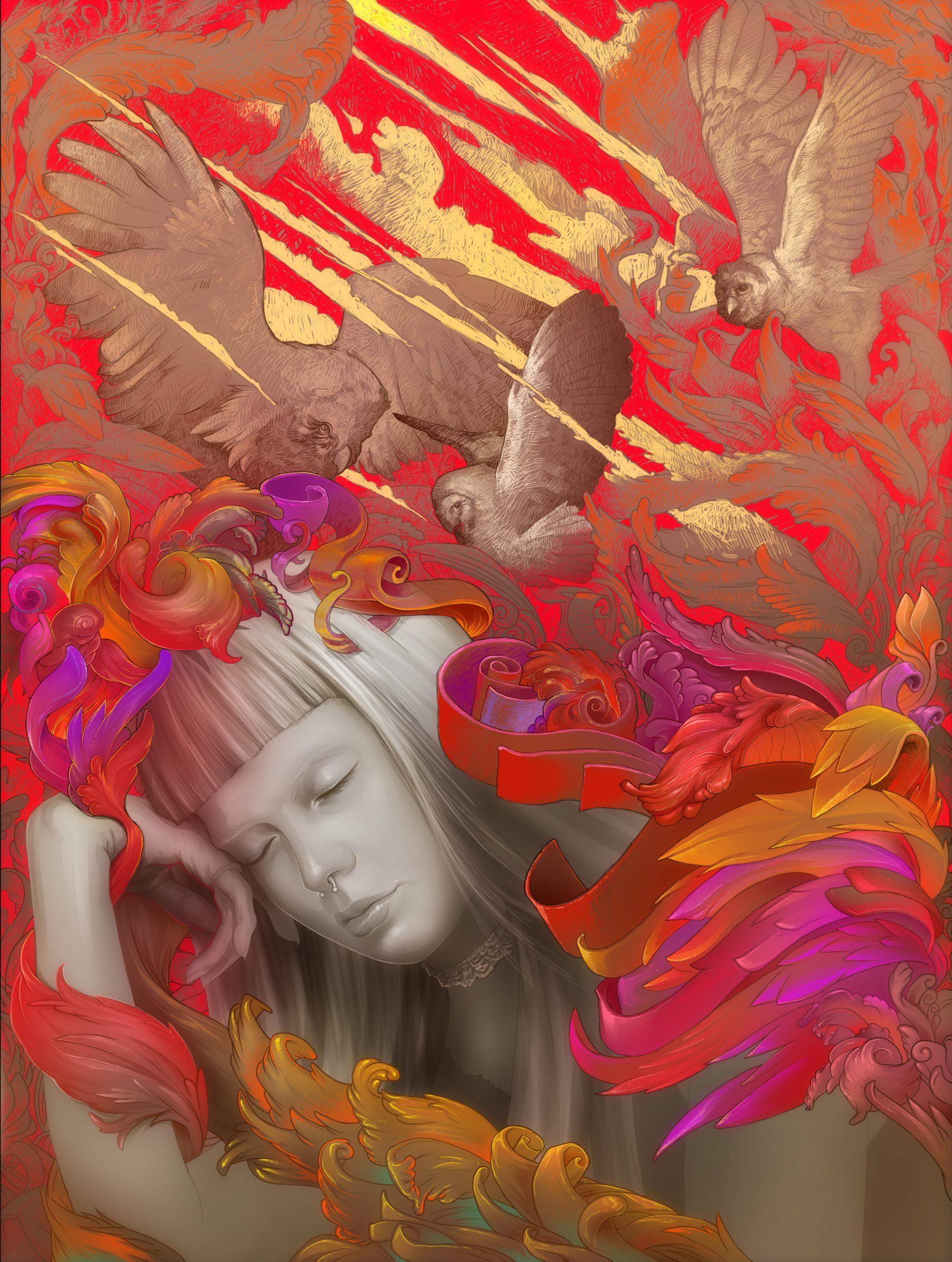 La déesse grecque Athena en train de rêver sur un fond coloré rouge et orange