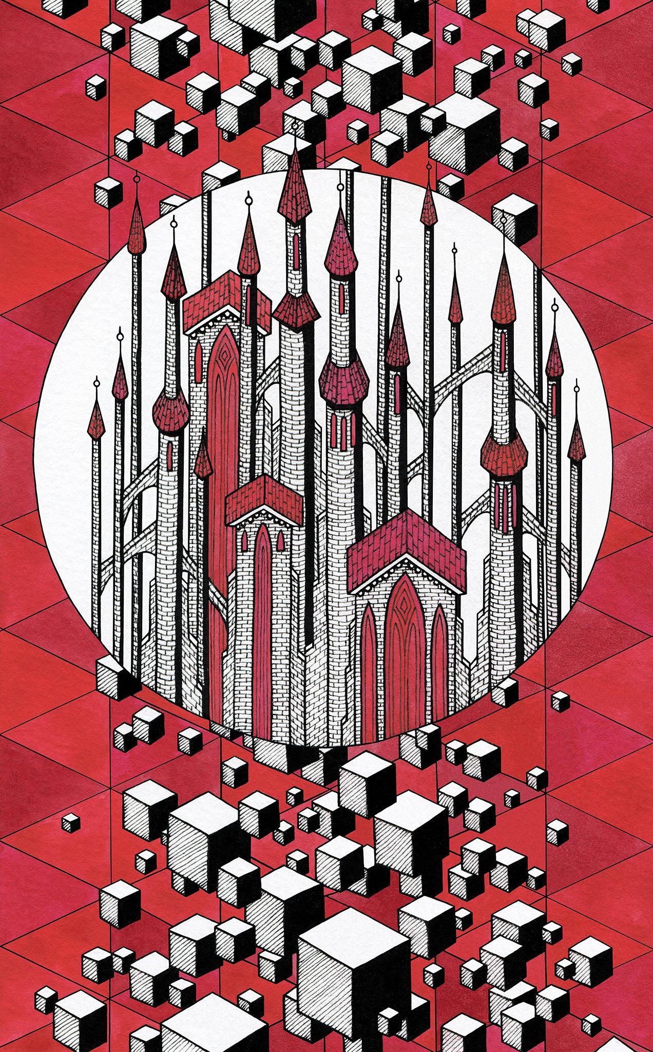 Châteaux forts flottants en l'air sur fond rouge avec des cubes