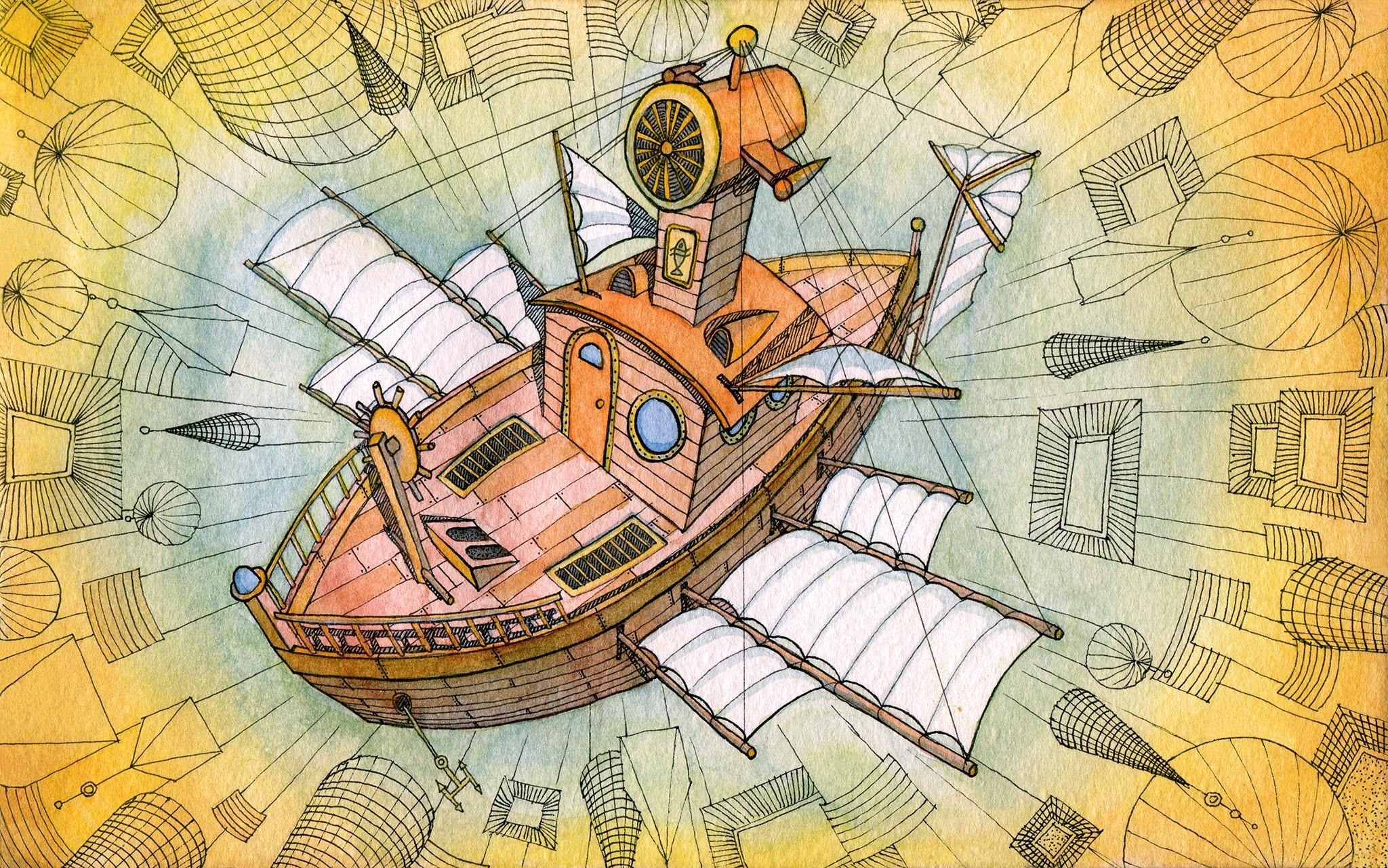 Illustration d'un bateau volant orange et blanc sur fond jaune