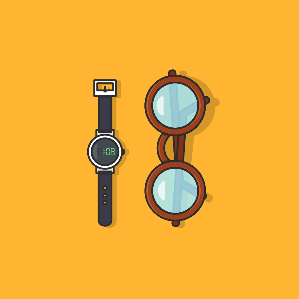 Une montre classique et une paire de lunettes rondes sur fond jaune