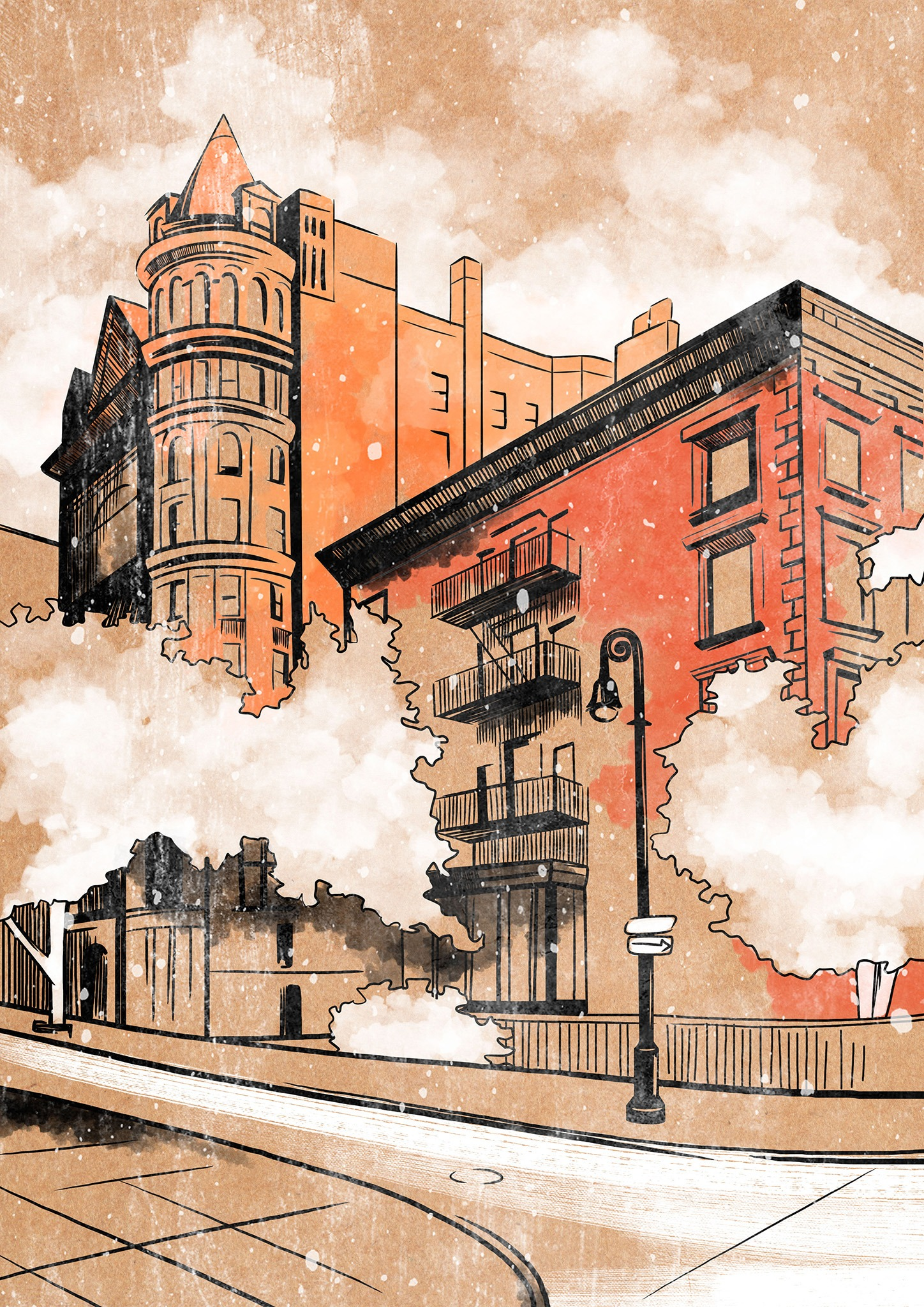 Illustration du quartier Brooklyn Heights de New York avec une teinte orangée