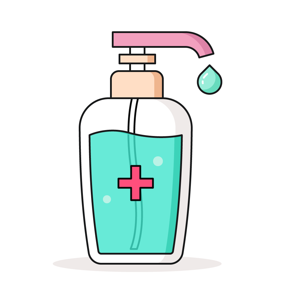 Gel Hydroalcoolique vert avec une croix rouge sur la bouteille