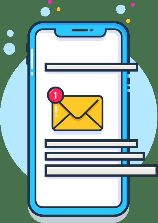 un smartphone bleu avec une notification d'e-mail