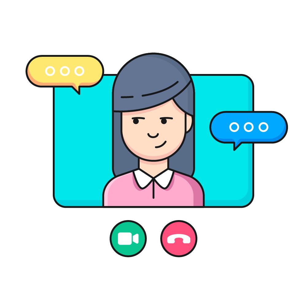 Femme dans un écran pendant un appel vidéo Skype ou Google Meet