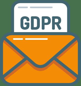 Un e-mail orange avec une feuille blanche GDPR