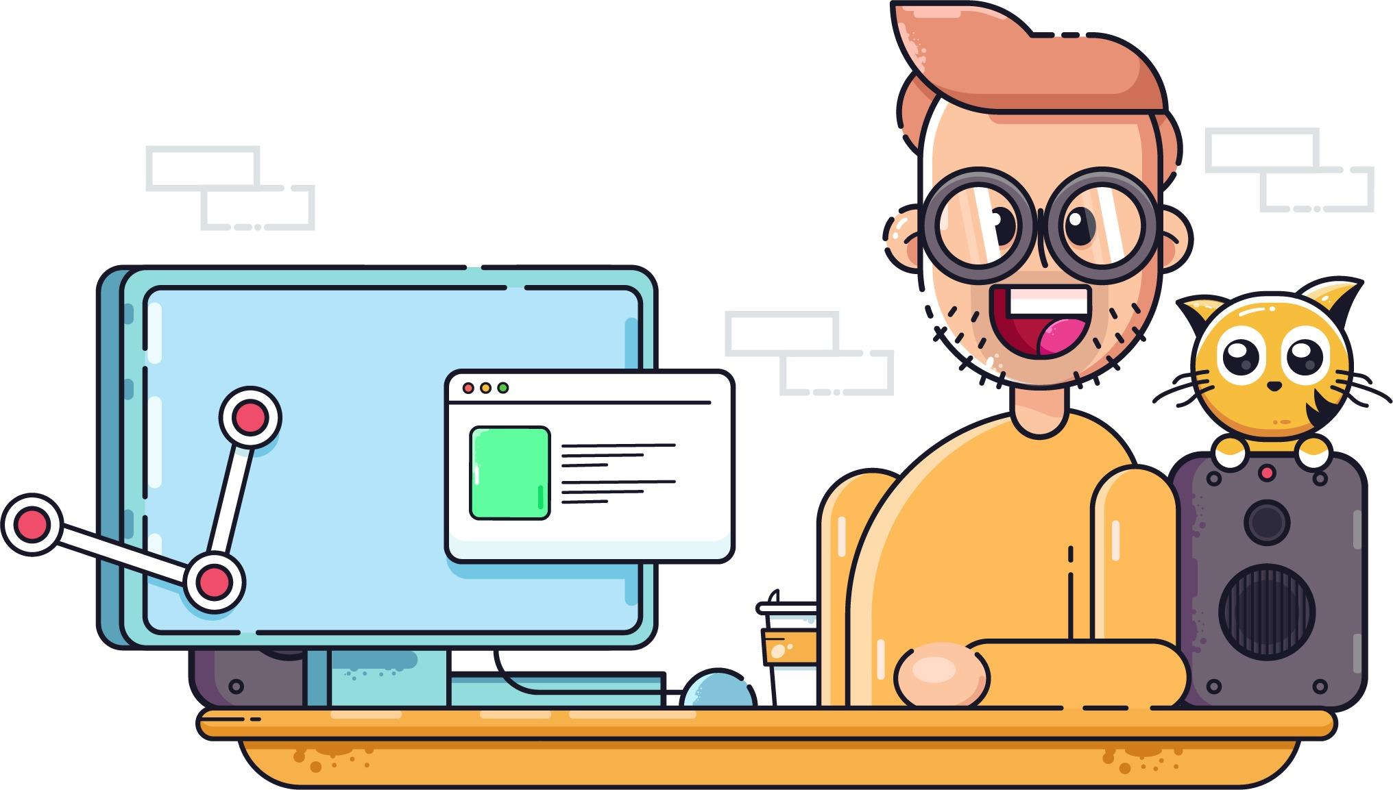 Un homme à lunettes à côté d'un écran d'ordinateur et d'un chat