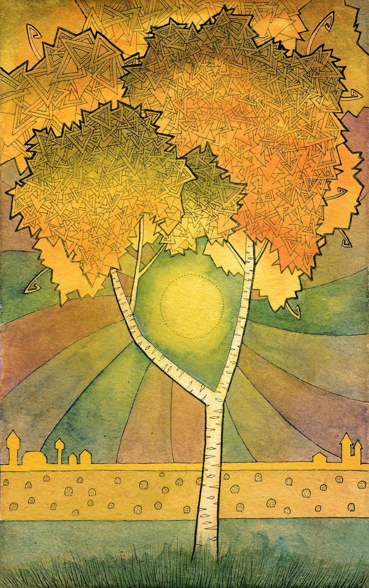 Illustration d'un rayon de soleil d'automne