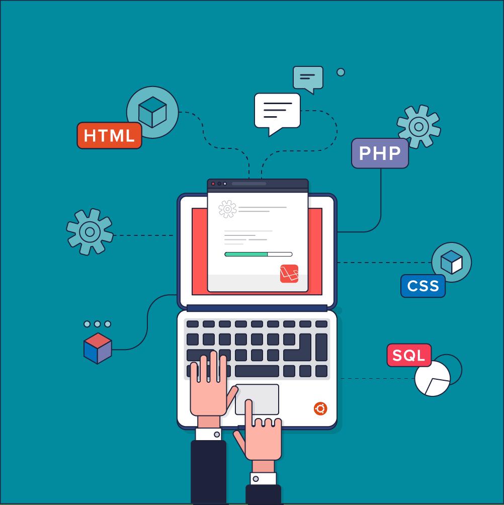 Illustration de deux mains sur un ordinateur avec plusieurs éléments en cours d'installation