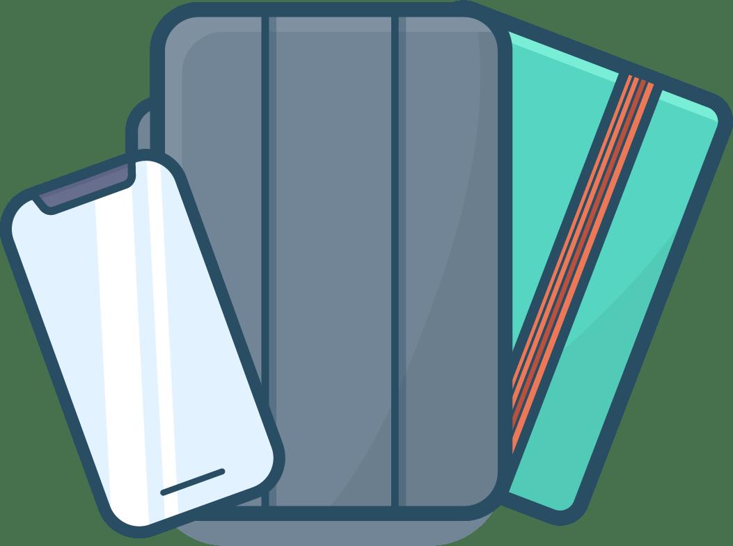 Un smartphone, une tablette et un agenda en éventail